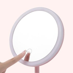 Eyebrow Tools & Stencils 2021 Mirror With Led Light, Pink Student Dormitory Table Makeup Ring Shape