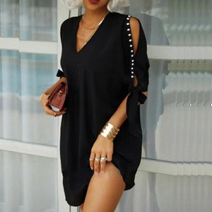 Party Dresses Women Summer Sexy V-Neck Dress 2021 Casual Solid Loose Office Ladies Spring Fashion Hollow Out Sleeve Vestidos