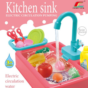 Kids Kitchen Toys Simulation Electric Dishwasher Educational Toys Mini Kitchen Food Pretend Play Cutting Role Playing Girls Toys 0009