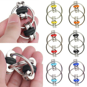 Bike Chain Key Ring Fidget Spinner Flip Finger Spinner Ring Fidget Keychain ADHD Sensory Autism Stress Relief Tool Finger Fun Toy H39XE77