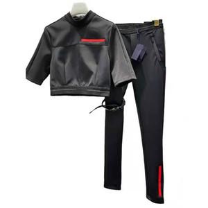 Frauen Trainingsanzug Zwei Teile setzt kurze Ärmeln und Hosen mit gestreiften Buchstaben Mode-Stil für Dame Slim T-Shirts-Anzüge