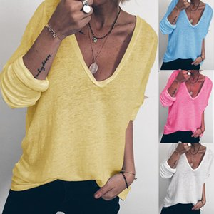 2020 women's casual loose long sleeve V-neck T-shirt H2S5