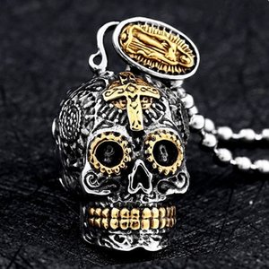 Mens Retro Rock Hip Hop Punk Cross Skull Pendant Jewelry Gift Stainless Steel Party Boy Birthday Gift Jewelry Wholesale