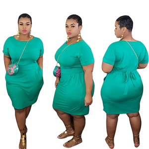 s Summer Crew Neck Short Sleeve Solid Color Bandge Dress Plus Size Women Clothing 2020