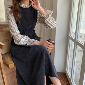 Alien Kitty 2021 Spring Women French Retro Dresses Patchwork Floral Printing Long Gentle Elegant Chic Female Fashion Clothe
