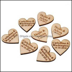 Favor Event Festive Party Supplies Home & Garden50 Pieces Personalized Engraved Wood Hangs Love Heart Centerpieces Wedding Table Decoration