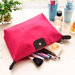 Cosmetic Bags For Women MakeUp Pouch Solid Bag Clutch Hanging Toiletries Travel Wash Bags Kit Jewelry Organizer Holder Casual Purse AHF5017