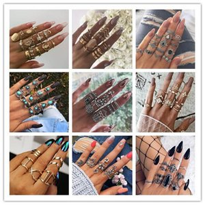 New 20 Styles Retro Diamond Crystal Ring Set Mermaid Crown Gem Hollow Personality DIY Women Jewelry Wholesale Ring