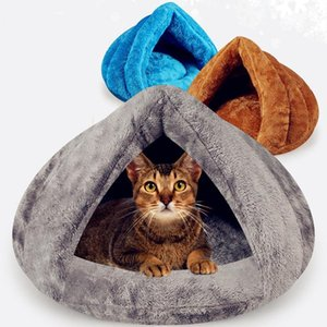 Puppy Pet Cat Bed For Small Dog Soft Warm Nest Kennel Cat Beds Cave House Sleeping Bag Mat Pad Tent Pets Winter Warm Pets Beds