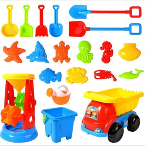 Children play sand set tools boys and girls children dig sand playing water beach toys large four wheel cart hourglass shovel