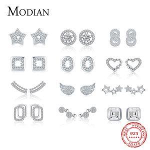 Modian New Real 925 Sterling Sierly Fashion Heart Heart Stars Circle Stud Pendientes para Mujer Charm Boda Boda Joyería Fina Brincos