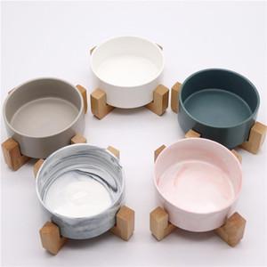 Ceramic Pet Bowl Cat Bowl Dog Cat Solid Wood Rack Ceramic Marble Rice
