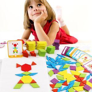 155 шт. Деревянные 3D Монтзагорода головоломка умная доска младенца Montessori Образовательные Игрушки для детей Геометрическая форма Пазки игрушки