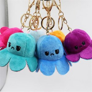 Reversible Flip Octopus Keychain Metal Key Ring Plush Doll Toys Bag Animal Pendants Double-Sided Emotion Toy Cute Keyring Ornment