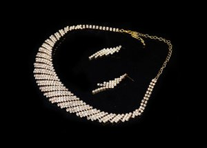 Earrings & Necklace 2021 Vintage Crystal Bridal Wedding Jewelry Sets African Beads Gold Color Rhinestone Women Engagement