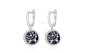 Stud Earrings for Women 925 Sterling Silver CZ Ear Studs Brilliant Galaxy Engagement Jewelry gift Star and Moon Earring