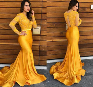 2021 New Yellow Lace Evening Dresses Mermaid V Neck Long Sleeves Satin Formal Long Prom Gowns Horsehair Skirt Cheap Party Dress