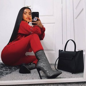 Lakeshi Sexy Donne di Strass Boots Tacchi alti GFyy