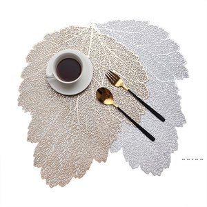 Placemat Dining Table Coasters Leaf Simulation Plant PVC Coffee Cup Table Mats Hollow Kitchen Christmas Home Decor Gifts EWA3859