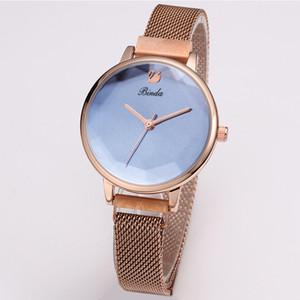 Binda 패션 간단한 트렌드 팔찌 시계 Womens 울트라 얇은 발광 방수 강철 밴드 쿼츠 로즈 골드 여성 시계