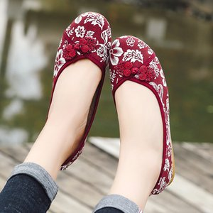 Female Ethnic Lone Vintage Spring Canvas Embroidered Buckle Strapping Moccasins Slide Into Casual Women's Fashionable Shoes 9id0
