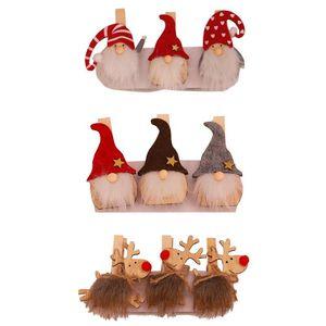 Christmas Wooden Clip Gnome Santa Deer Photo Clamps Clothespin Craft Clips Pegs Xmas Ornament Home Decor JK2011PH