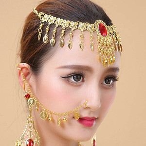Belly performance chain dance jewelry ring Indian coin nose clip