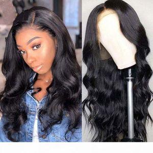 Malaysian Body Wave 360 Volle Spitze Perücken vorgeptet mit Babyhaar Remy Human Hair Perücken Natürliche Schwarze Farbe Für weiße Frauen Perücken