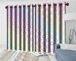 3d Modern Curtain Color-changing Five-pointed Star 3d Curtains Living Room Bedroom Kitchen Window Blackout Curtains