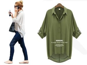 Moda Kadınlar için Tops Gevşek Bluzlar Şifon Seksi Yaz Uzun Kollu Gömlek Üst Beyaz Rahat Bluzlar Bluz Kadın Bayan Giyim