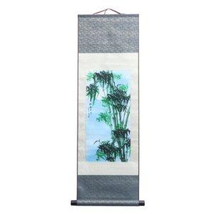 1 ADET Çin Duvar Boyama Ipek Boyama Bambu Kaligrafi Sanat Kaydırma Duvar Sanatı Ev Oturma Odası Dekorasyon Için (45x140