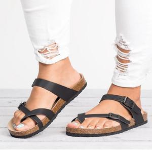 Scarpe da donna Piattaforma Stili Summer Moda Arcobaleno clip con punta flip flops stile in sughero pantofole anti-skid spiaggia sandali da donna 210306