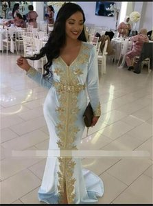 2021 Light Blue Muslim Long Sleeve Evening Dresses Mermaid Crystal Lace Dubai Caftan Gown Vestidos Formales Robe De Soirée De Mariage