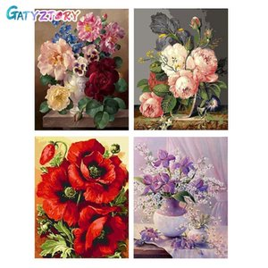 GATYZTORY DIY By Numbers Flowers Canvas Drawing Figure Oil Painting HandPainted Home Decor Gift