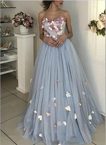 Pale Blue Corset Tulle Prom Dresses A Line Sweetheart Strapless Appliques 3D Floral Flowers Plus Size Special Occasion Dress Evening Gowns