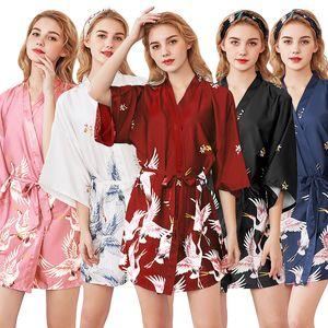Yeni Koleksiyon Buz Ipek Vinç Pijama Kadın Yaz İpek Gelin Sabah Kıyafeti Büyük Boy Ev Sabahlığı Bornoz Toptan WP990