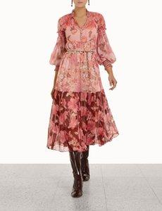 Autumn and winter 2021 new mixed splicing silk printing series Lantern Sleeve medium length skirt