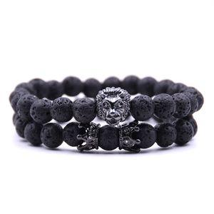 2PCS set 2021 bead Charm bracelet buddha bracelets paracord natural stone lion bracelet men pulseras hombre bracciali uomo mens bracelets