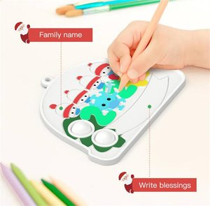 Christmas Fidget Toys Push It Bubble Antistress Toys New Year Anti-stress Sensory Gifts Reusable Squeeze Gifts Stress Reliever Pencil Bag Coin Purse 2021