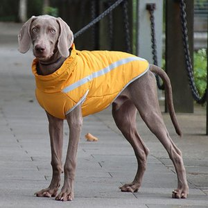 Dog Apparel Reflective Big Jacket With Buckle Winter Waterproof Pet Clothes For Large Dogs Weimaraner Whippet Greyhound Coat Clothing