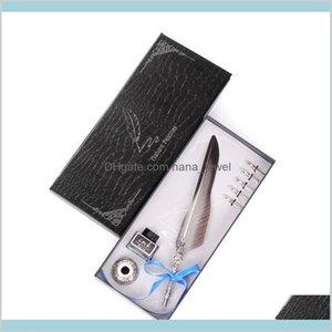 European Retro Multicolor Feather Pen Gift Box Set Creative Gift Stationery Writing Tools Tanabata Festival Teacher'S Day Fjpmp Bi9Pu
