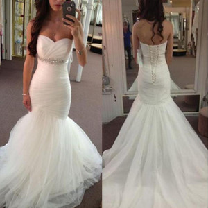 Elegant Mermaid Wedding Dresses Sweetheart Crystals Beaded Lace Up Back Sweep Train Bridal Gowns vestido de novia