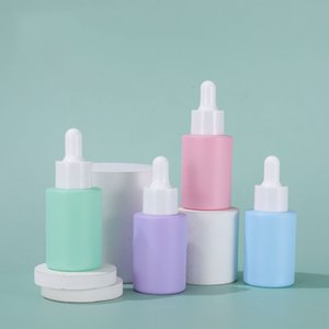 Personal care Essential oil e liquid serum bottles 30ml 1 oz pink green blue purple glass dropper bottle in stocks