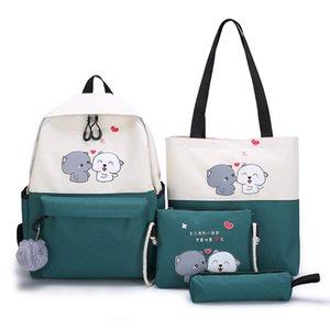 4 pçs / set Kids School Bags Mulheres Nylon Mochila Crianças Coréia do Ombro da Coréia Cute Satchel Schoolbag para meninas Mochila Escolar 2020 C0226