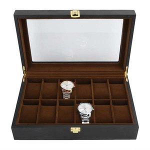 6/12 GRIDS Watch Storage Box Деревянный наручный час Дисплей Карт Упаковка Ювелирных изделий Организатор для часовщик для часовщика