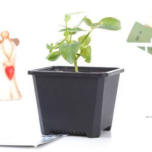 Square Nursery Plastic Flower Pot Planter 3 Size for Indoor Home Desk Bedside or Floor, and Outdoor Yard,lawn or Garden Planting HWF5444