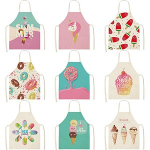 Sweet Donuts Kitchen Aprons for Women Cotton Linen Bibs Household Cleaning Pinafore Home Cooking Apron