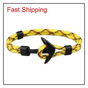 Viking Jewelry Mens Black Alloy Pirate Nautical Navy Anchor Bracelets Rope Woven Bracelet For Women Men jllMmy lottery2010