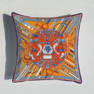 Nuevo 45 * 45 cm Serie de naranja CUBIERTAS CUBIERTAS CUBIERTAS CABALLAS FLORES PULSO DE LA COBILLA DE LA CUBIERTA PARA LA SILLA DE HOGAR Sofá Sofá decoración Pillowcases ZZE5184