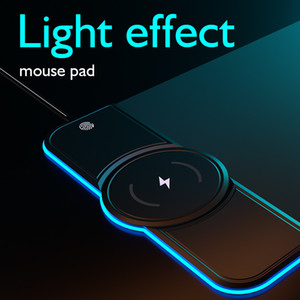 RGB Gaming Wireless Charging Computer Mousepad Colorful Luminous Rubber No-slip Mouse Pad PC Laptop Keyboard Desk Carpet